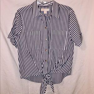 Michael Kors Grey & White Striped Blouse.